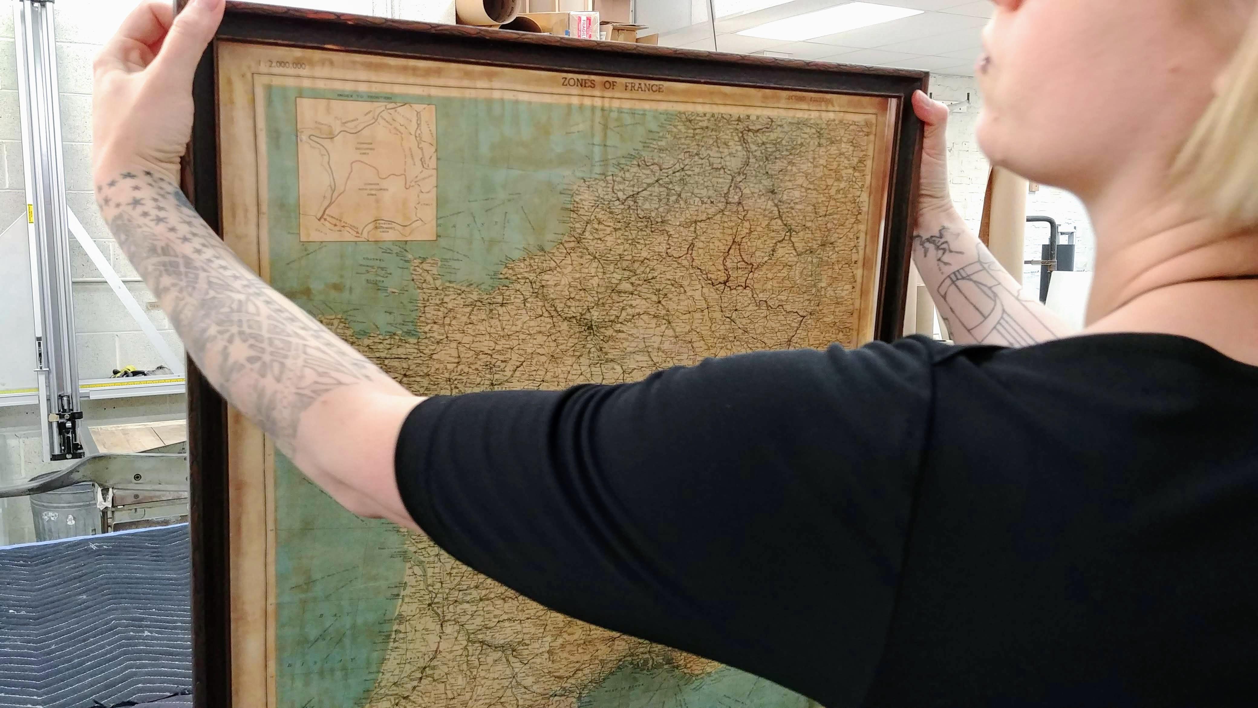 Custom Framed Silk Map of France